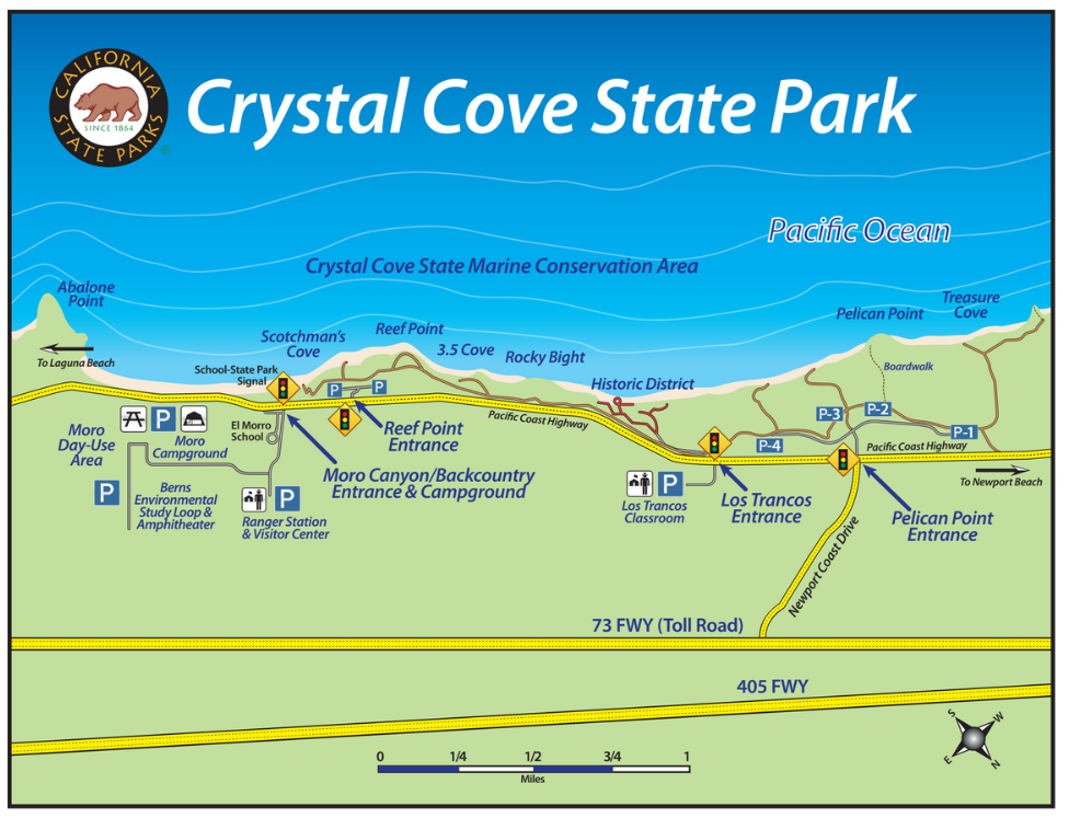 How to Find the Park | Crystal Cove California State Beaches Map on