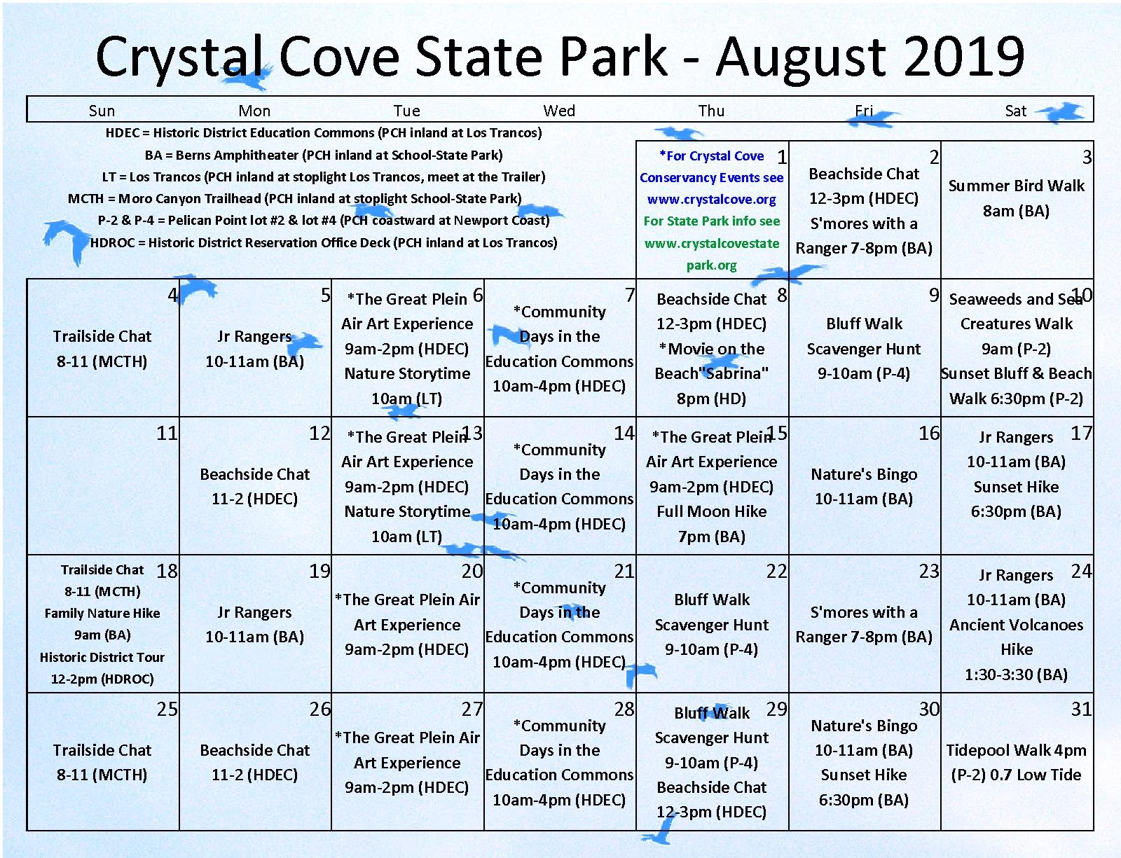 Park Calendars | Crystal Cove